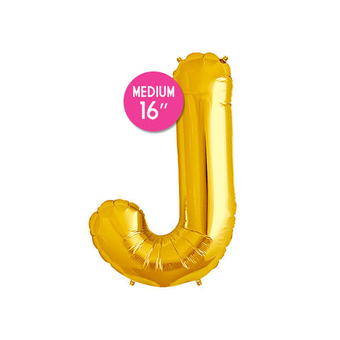 Gold Letter J Balloon - 16 in