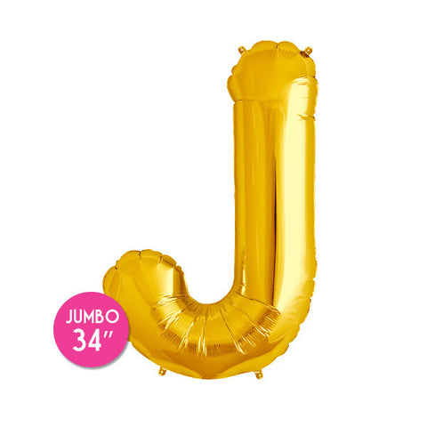 Gold Letter J Balloon - 34 in