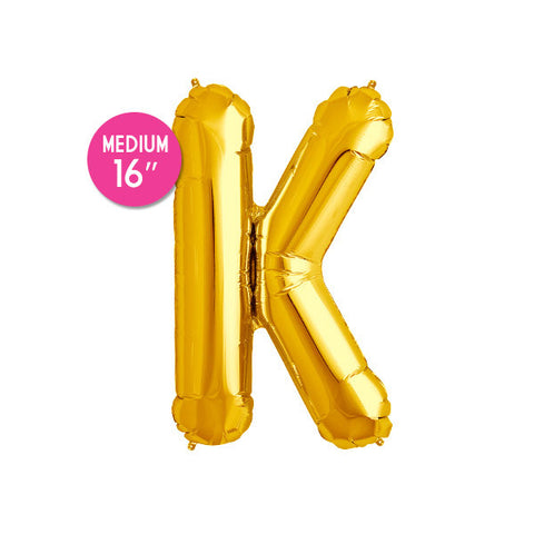 Gold Letter K Balloon - 16 in