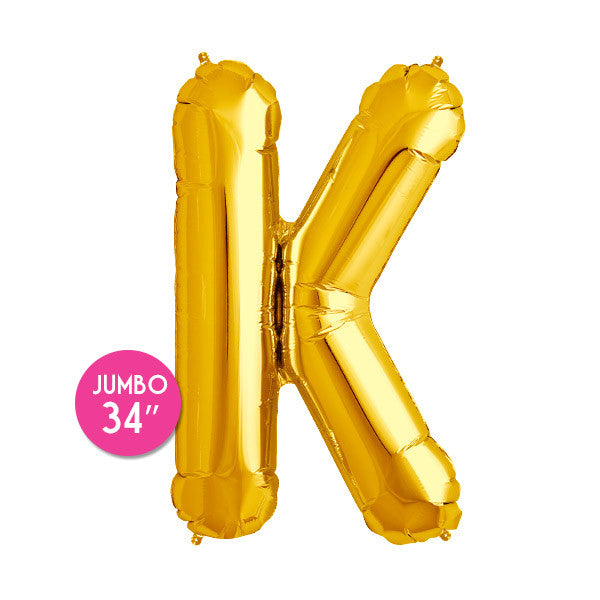 Gold Letter K Balloon - 34 in