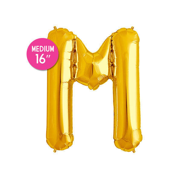 Gold Letter M Balloon - 16 in