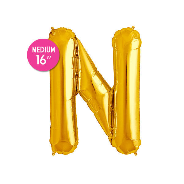 Gold Letter N Balloon - 16 inch