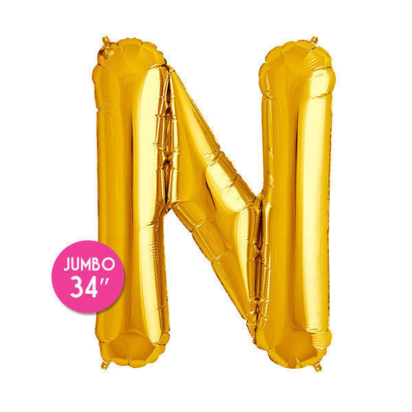 Gold Letter N Balloon - 34 in