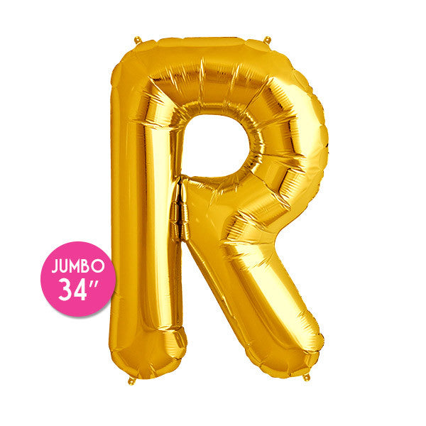 Gold Letter R Balloon - 34 in