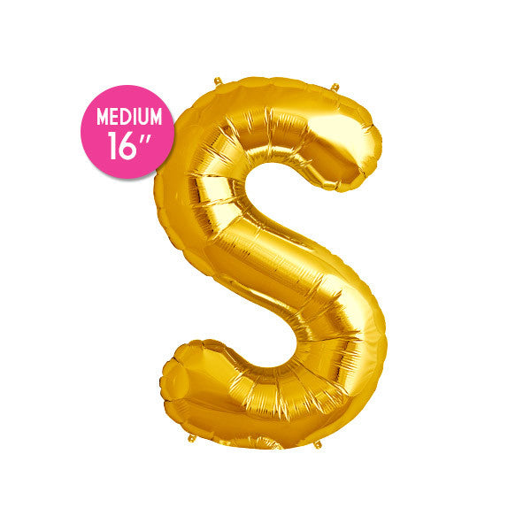 Gold Letter S Balloon - 16 in