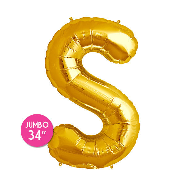 Gold Letter S Balloon - 34 in