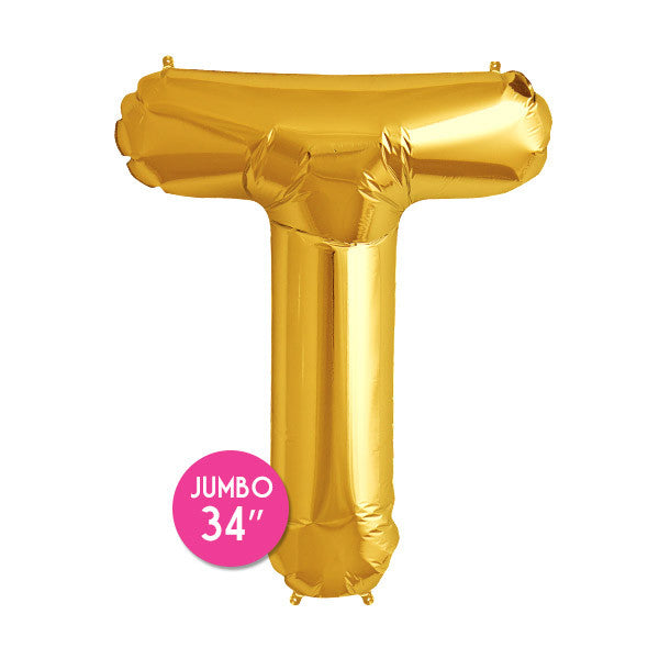 Gold Letter T Balloon - 34 in