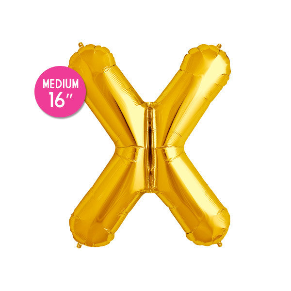 Gold Letter X Balloon - 16 in