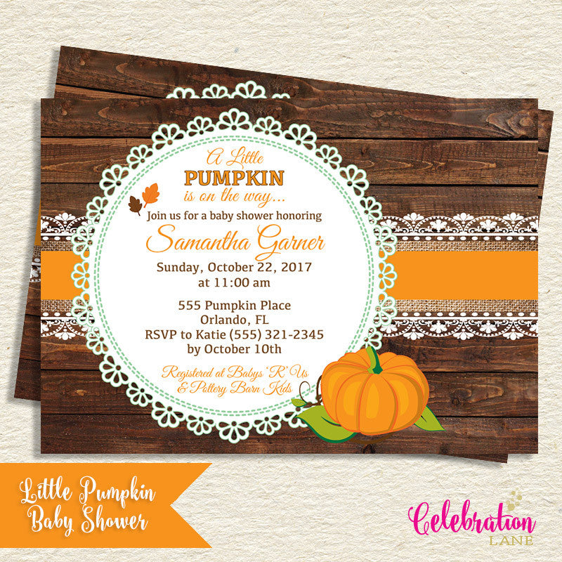 Little Pumpkin Baby Shower Digital Invitation