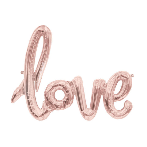 Love Script Foil Balloon - Rose Gold