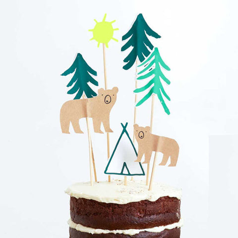Let's Explore Camping Cake Toppers