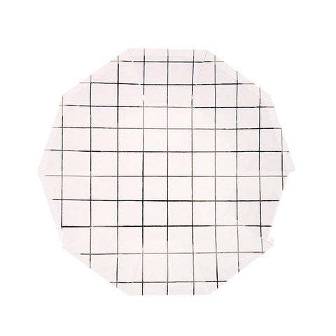 Silver Grid Lines Paper Plates