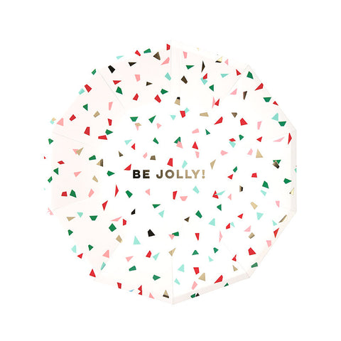 Be Jolly Confetti Large Christmas Plates