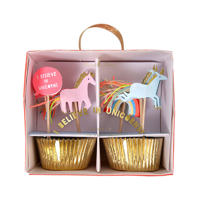 Meri Meri Rainbow and Unicorn Cupcake Topper Kit