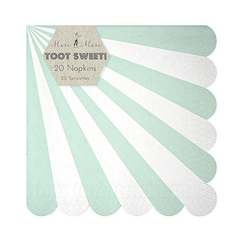 Mint Stripes Cocktail Napkins
