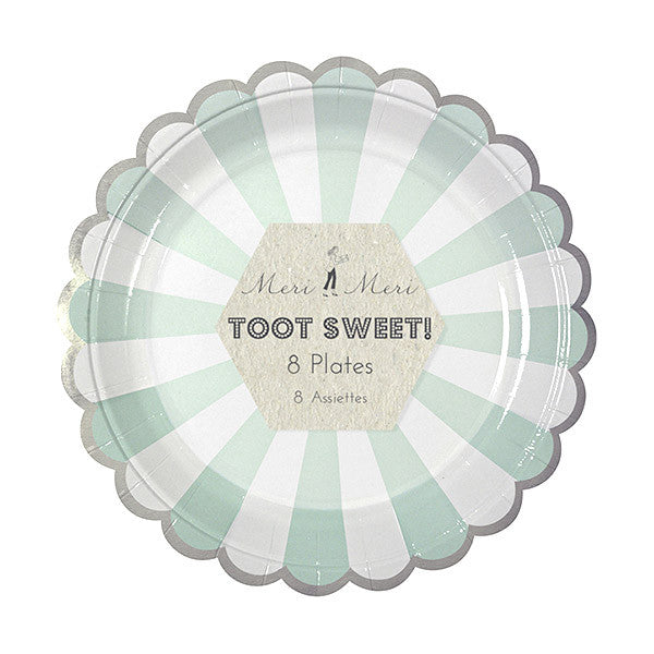 Mint Stripes Dessert Plates