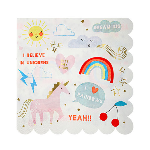 Rainbow and Unicorn Party Napkins