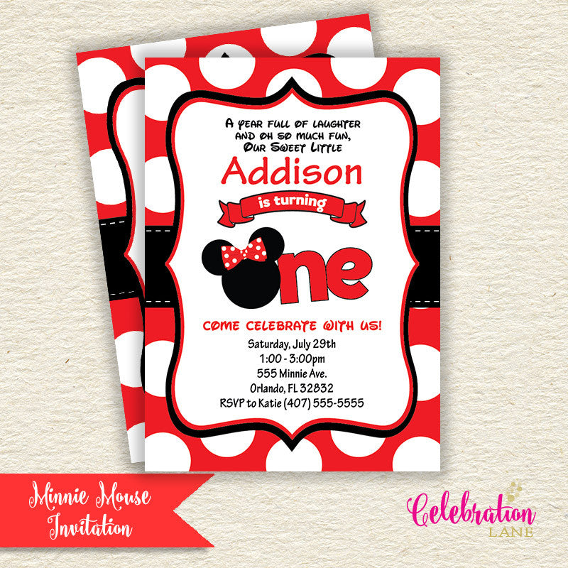 Minnie Mouse 1st Birthday Invitation