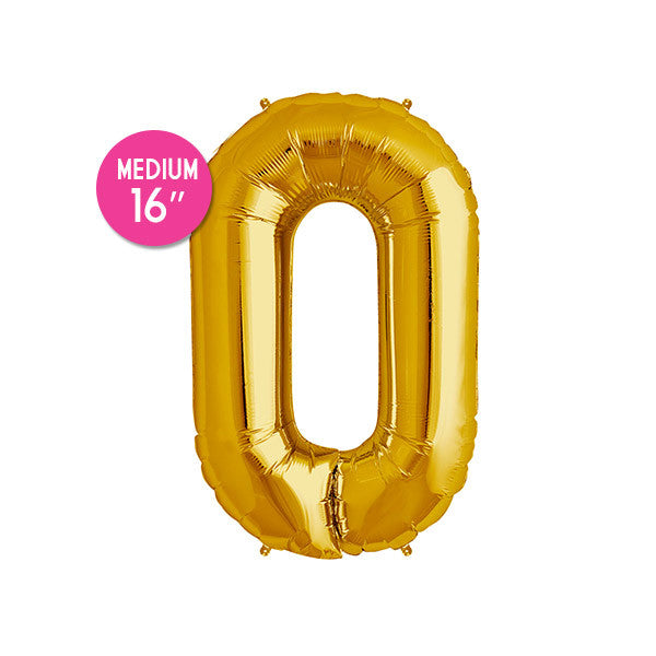 Gold Number 0 Balloon - 16 inch