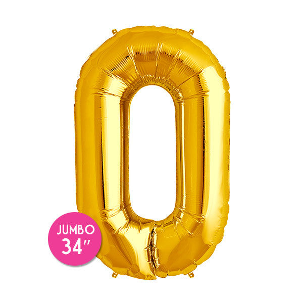 Gold Number 0 Balloon - 34 in