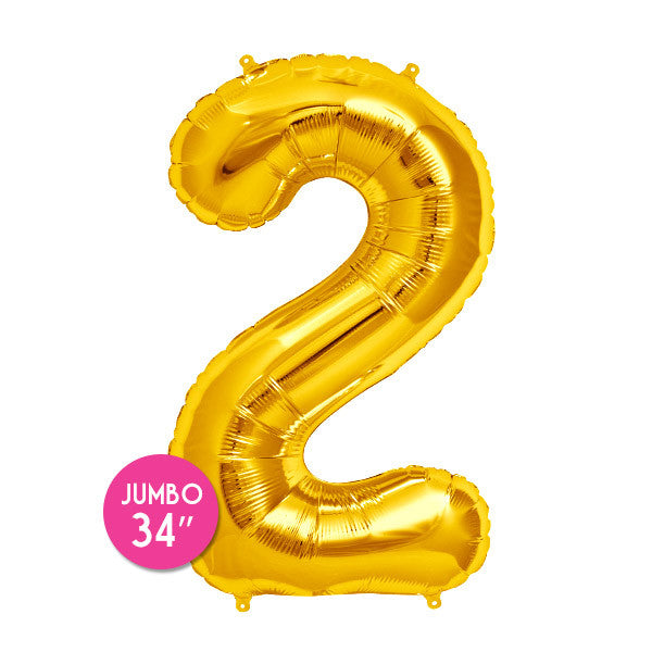 Gold Number 2 Balloon - 34 in
