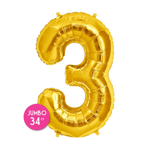 Gold Number 3 Balloon - 34 in