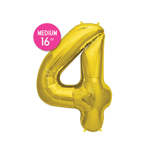 Gold Number 4 Balloon - 16 inch