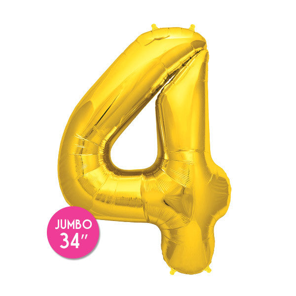 Gold Number 4 Balloon - 34 in