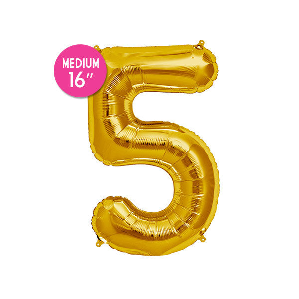 Gold Number 5 Balloon - 16 inch
