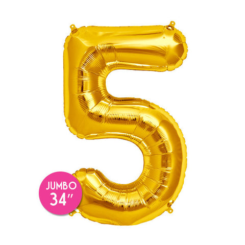 Gold Number 5 Balloon - 34 in