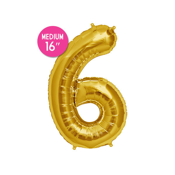 Gold Number 6 Balloon - 16 inch