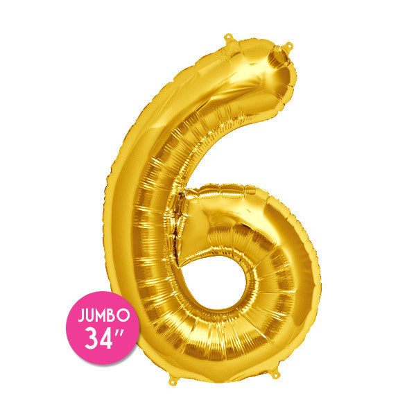 Gold Number 6 Balloon - 34 in