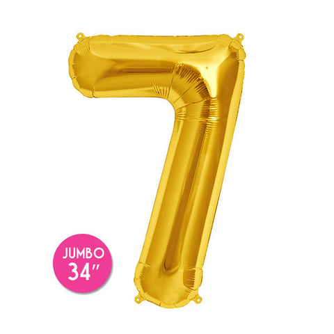 Gold Number 7 Balloon - 34 in