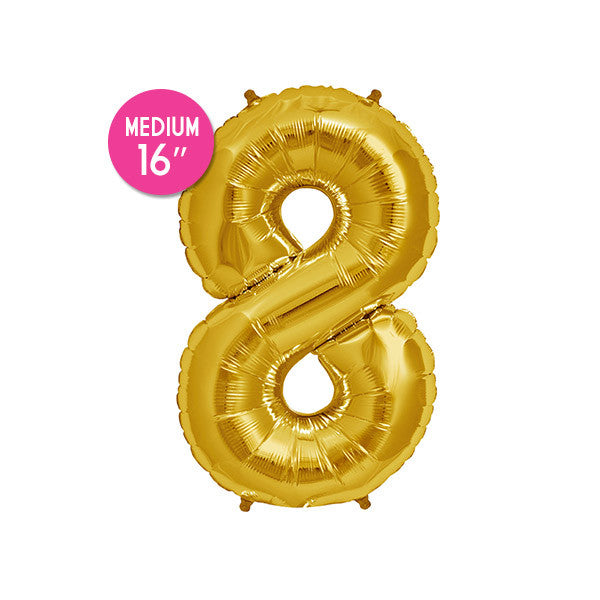 Gold Number 8 Balloon - 16 inch