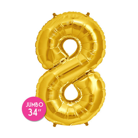 Gold Number 8 Balloon - 34 in