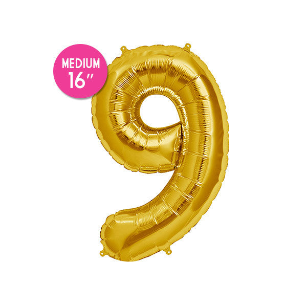 Gold Number 9 Balloon - 16 inch