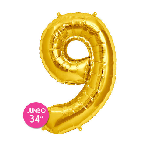 Gold Number 9 Balloon - 34 in