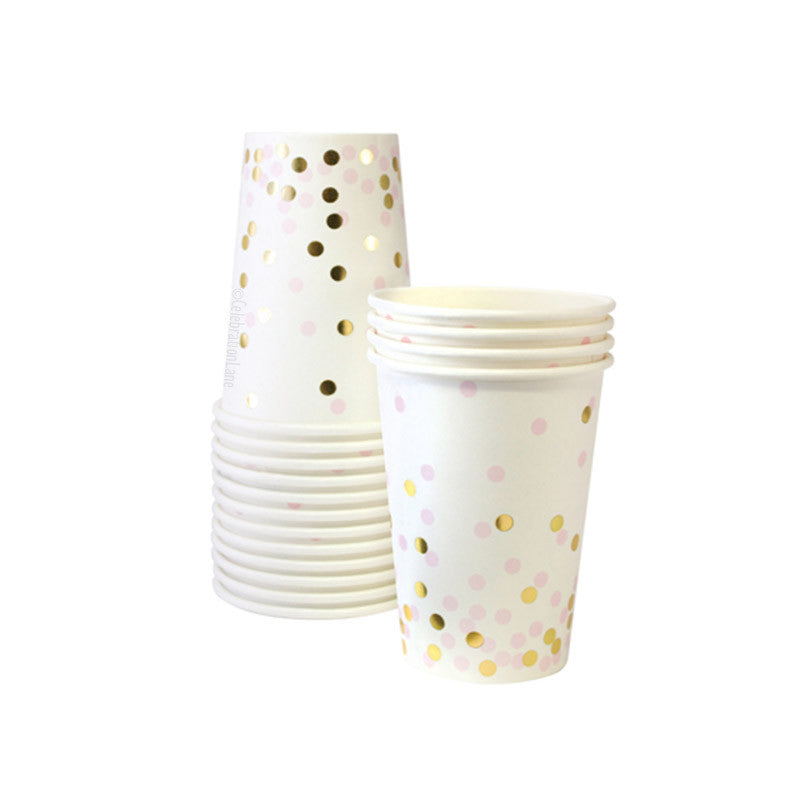 Pink and Gold Confetti Paper Party Cups