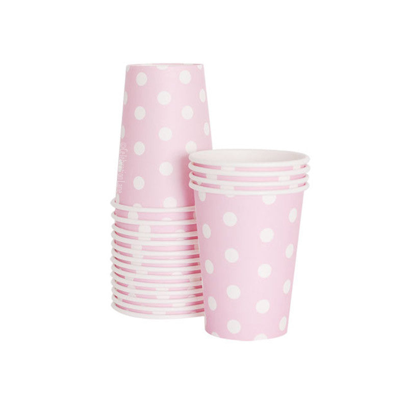 Marshmallow Pink Polka Dot Cups