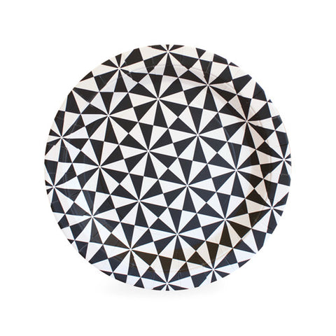 Black Geometric Dessert Plates (Pack of 12)
