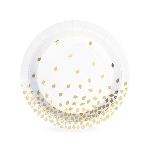 Geo Gold Dessert Plates (Pack of 12)