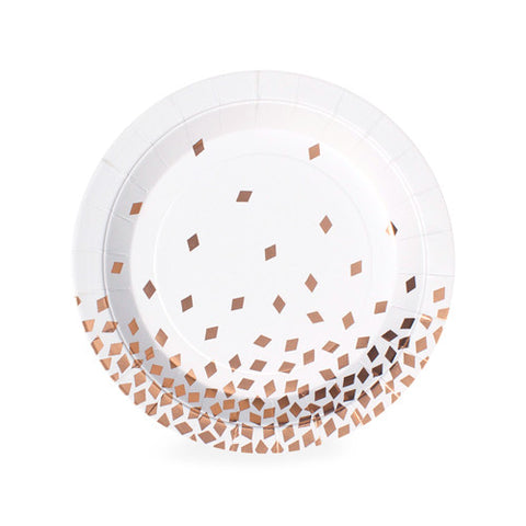 Geo Rose Gold Dessert Plates (Pack of 12)