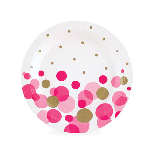 Hot Pink + Gold Confetti Dessert Plates (Pack of 12)
