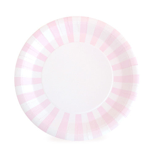 Marshmallow Pink Striped Paper Plates (Pack of 12)