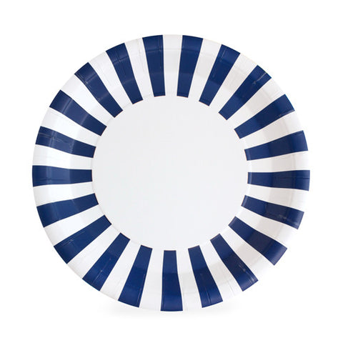 Navy Blue Striped Paper Plates (Pack of 12)