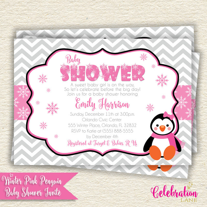 Pink Penguin Winter Wonderland Baby Shower Invitation by Celebration Lane