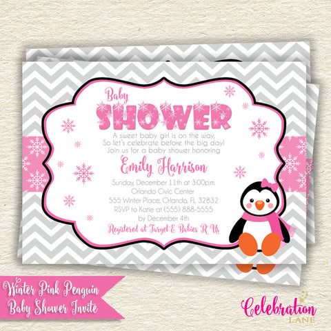 Pink Penguin Winter Baby Shower Invitation