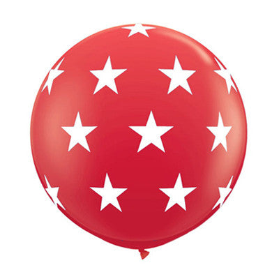 Red Round 36 inch Balloon with White Stars