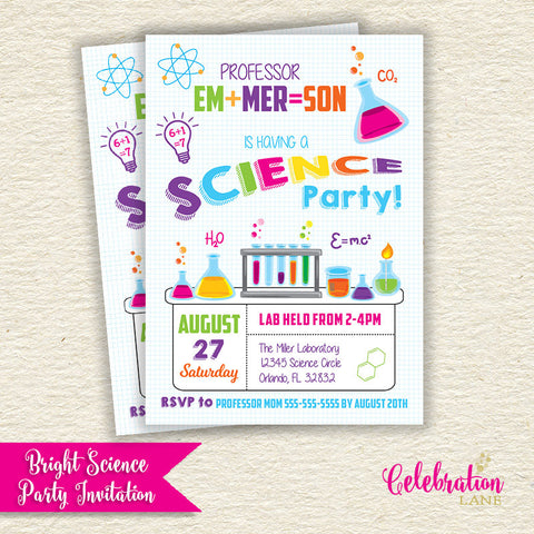 Invitations celebration lane science bright girly birthday invitation filmwisefo