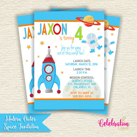 Modern Outer Space Birthday Invitation